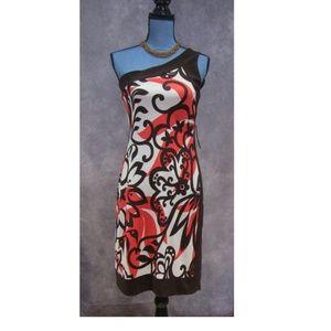 NEW Bisou Bisou Brown & Coral One Shoulder Dress 4